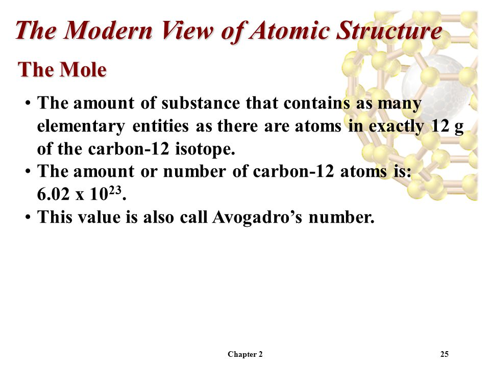 Chapter 225 The Mole The Modern View of Atomic Structure The amount of substance that contains as many elementary entities as there are atoms in exactly 12 g of the carbon-12 isotope.