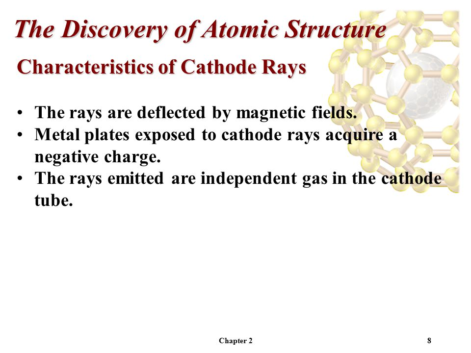 Chapter 28 Characteristics of Cathode Rays The rays are deflected by magnetic fields.