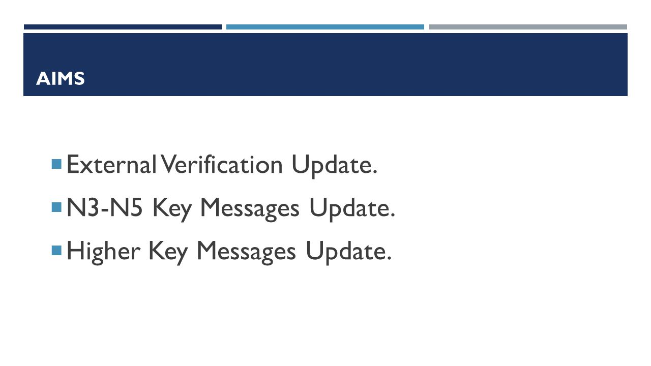AIMS  External Verification Update.  N3-N5 Key Messages Update.  Higher Key Messages Update.