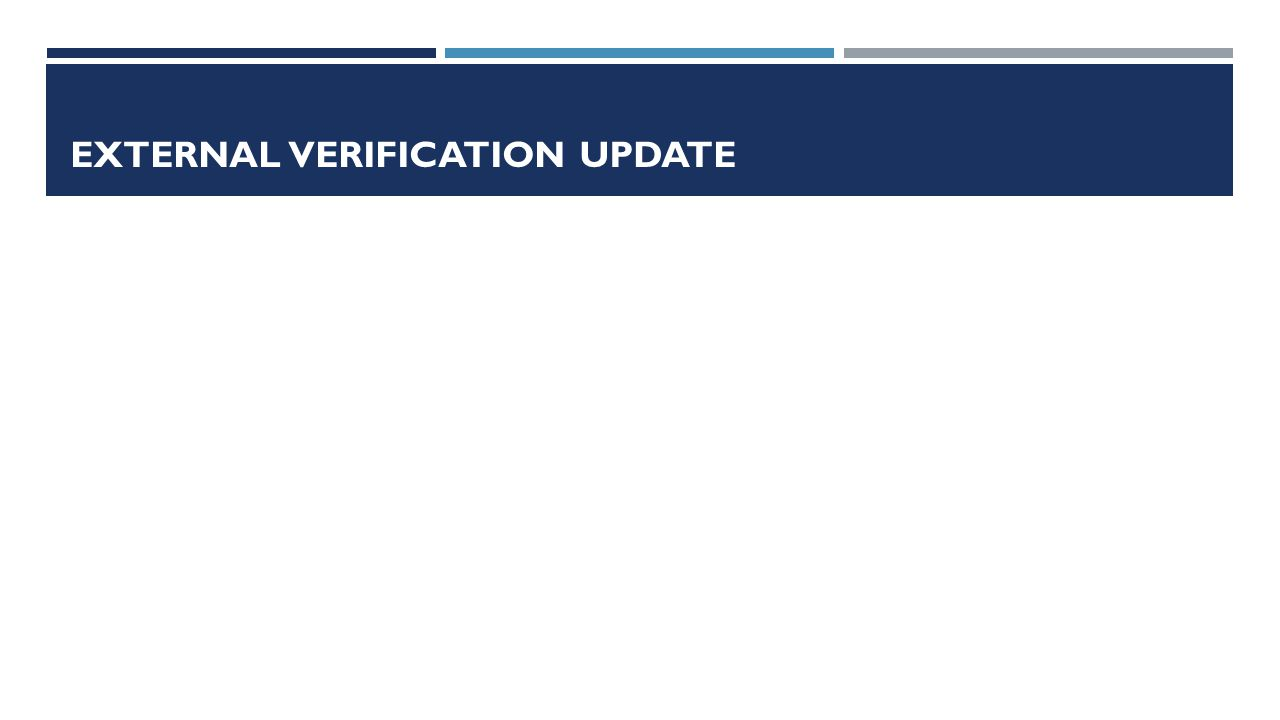 EXTERNAL VERIFICATION UPDATE