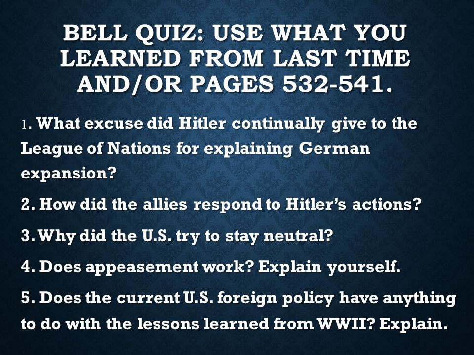 BELL QUIZ: USE WHAT YOU LEARNED FROM LAST TIME AND/OR PAGES