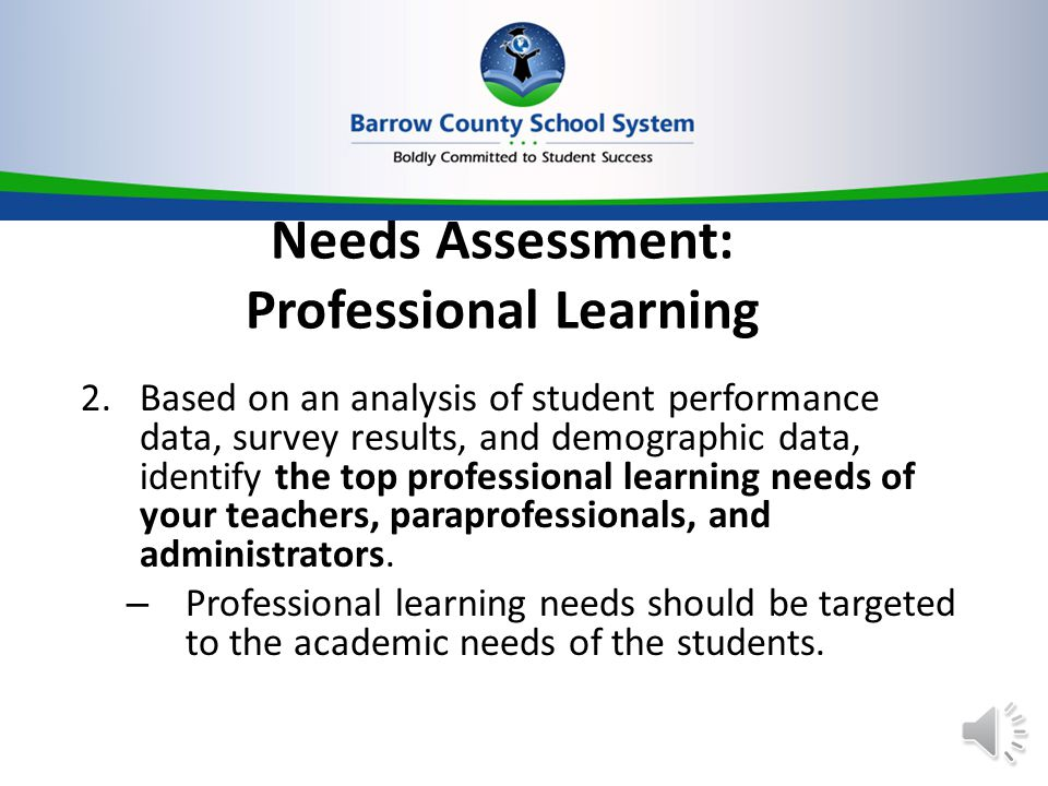 Needs Assessment: Professional Learning 2.Based on an analysis of student performance data, survey results, and demographic data, identify the top professional learning needs of your teachers, paraprofessionals, and administrators.