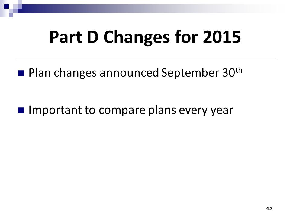 Part D Changes for 2015 Plan changes announced September 30 th Important to compare plans every year 13