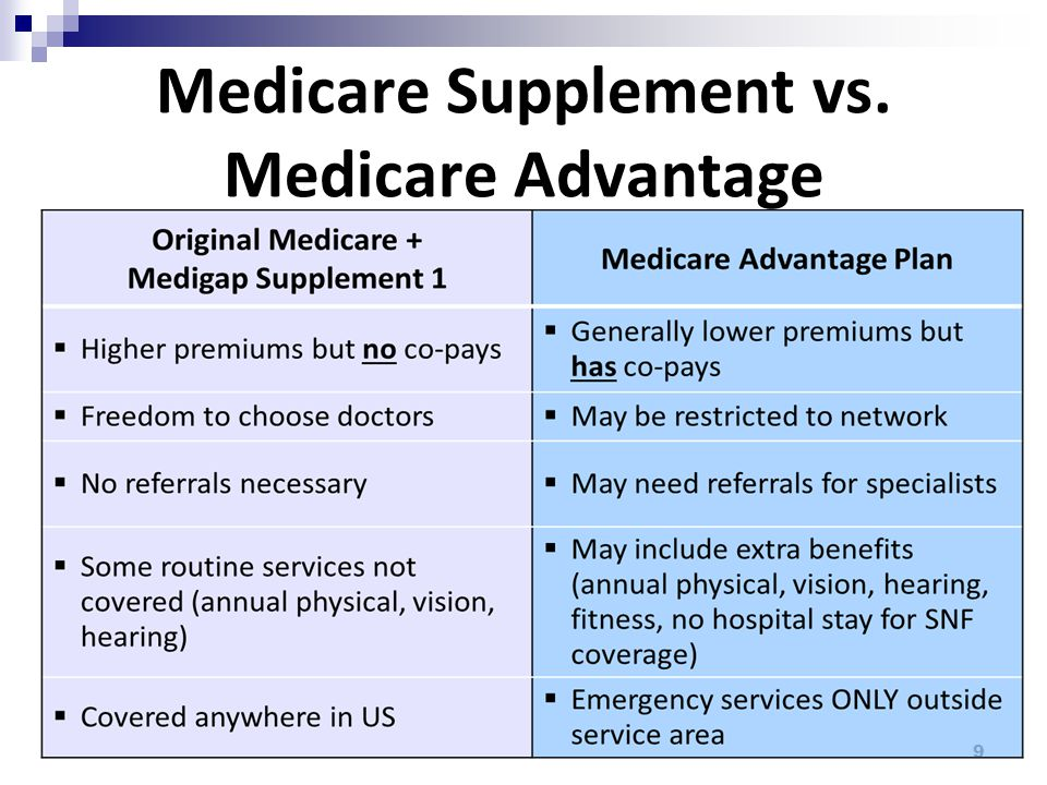 Medicare Supplement vs. Medicare Advantage 9
