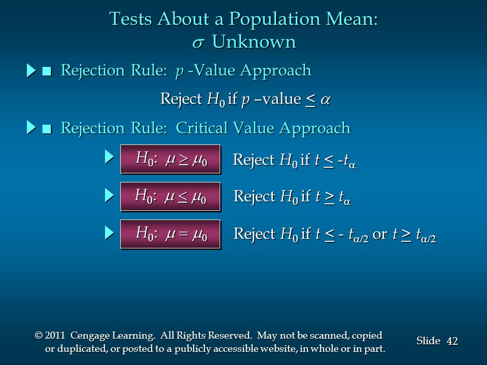 42 Slide © 2011 Cengage Learning. All Rights Reserved.