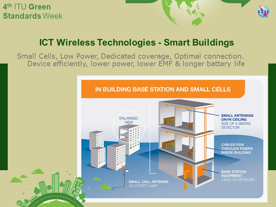International Telecommunication Union Committed to connecting the world 4 th ITU Green Standards Week ICT Wireless Technologies - Smart Buildings Small Cells, Low Power, Dedicated coverage, Optimal connection.