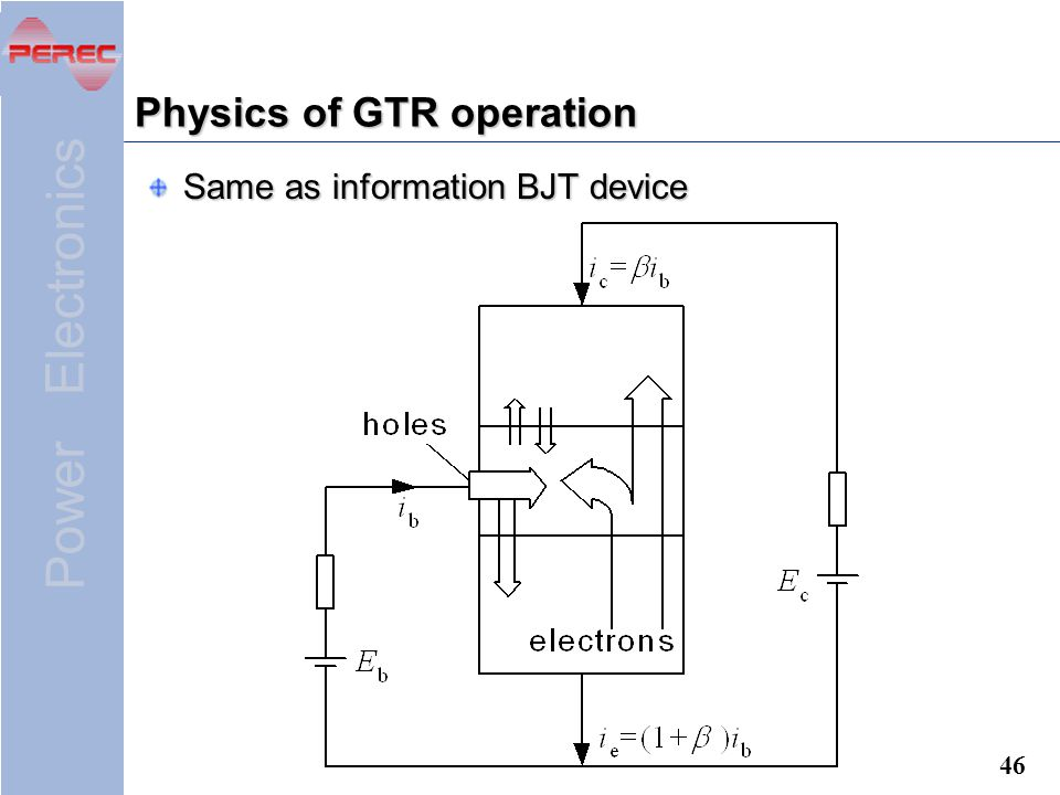 Power Electronics 46 Physics of GTR operation Same as information BJT device