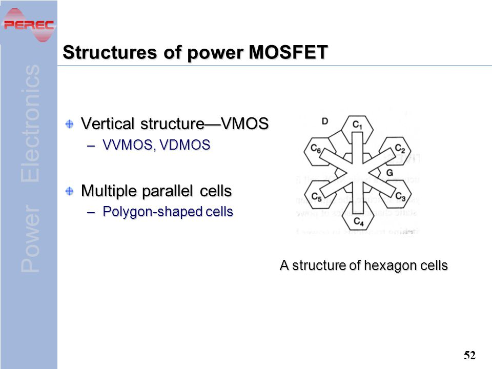 Power Electronics 52 Structures of power MOSFET Vertical structure—VMOS –VVMOS, VDMOS Multiple parallel cells –Polygon-shaped cells A structure of hexagon cells