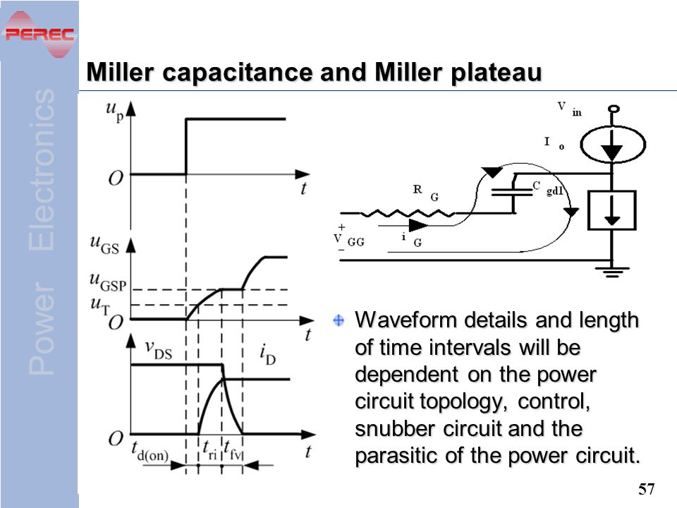 Power Electronics 57 Miller capacitance and Miller plateau Waveform details and length of time intervals will be dependent on the power circuit topology, control, snubber circuit and the parasitic of the power circuit.