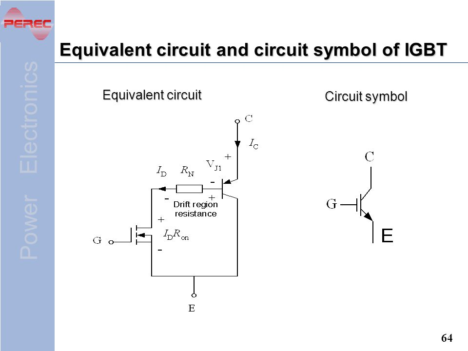 Power Electronics 64 Equivalent circuit and circuit symbol of IGBT Equivalent circuit Circuit symbol
