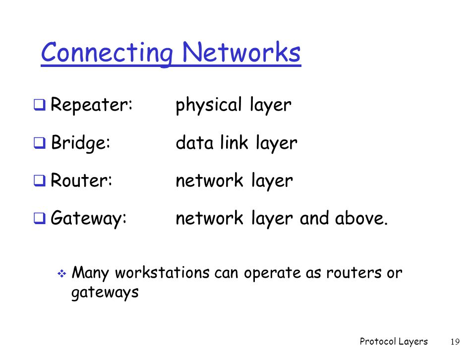 Connecting Networks  Repeater: physical layer  Bridge: data link layer  Router: network layer  Gateway: network layer and above.