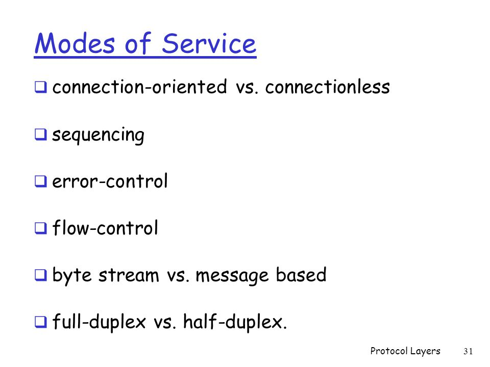 Modes of Service  connection-oriented vs.
