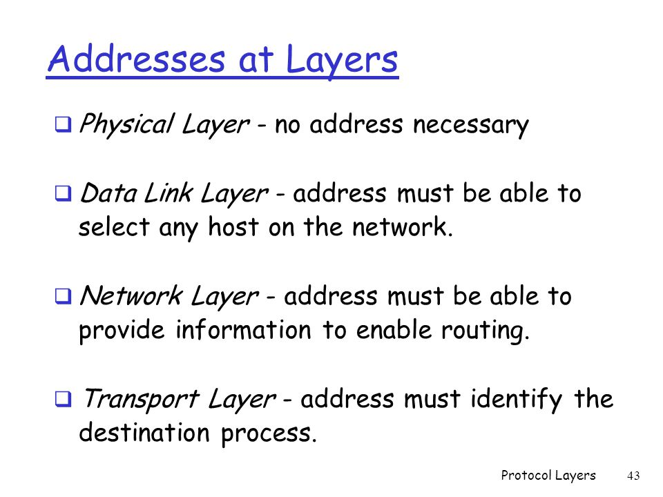 Addresses at Layers  Physical Layer - no address necessary  Data Link Layer - address must be able to select any host on the network.