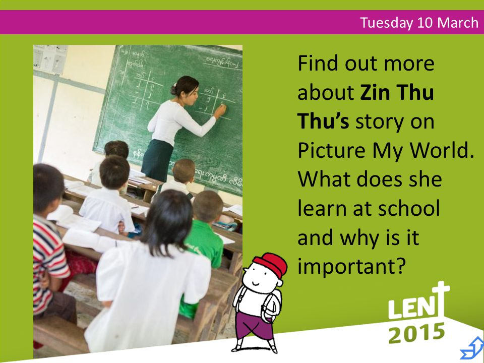 Tuesday 10 March Find out more about Zin Thu Thu's story on Picture My World.