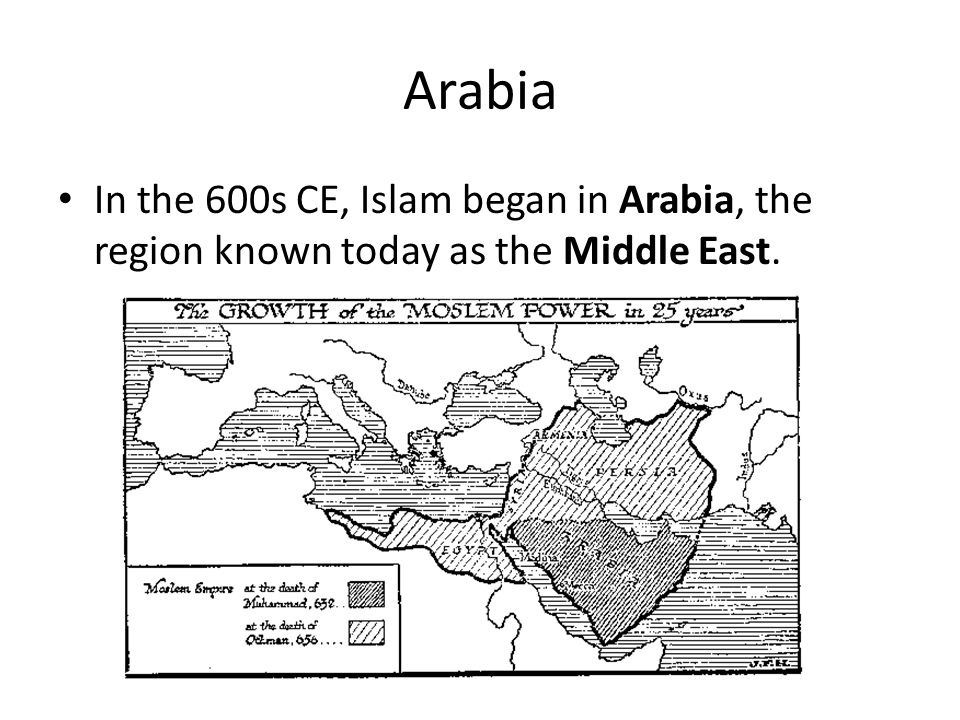 Arabia In the 600s CE, Islam began in Arabia, the region known today as the Middle East.