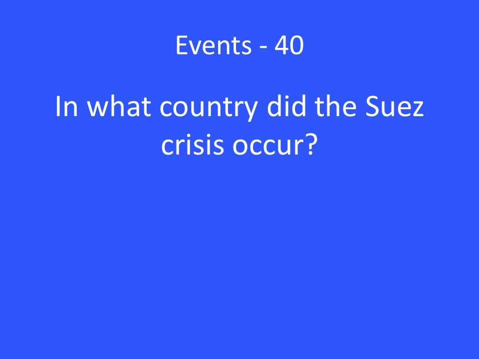 Events - 40 In what country did the Suez crisis occur