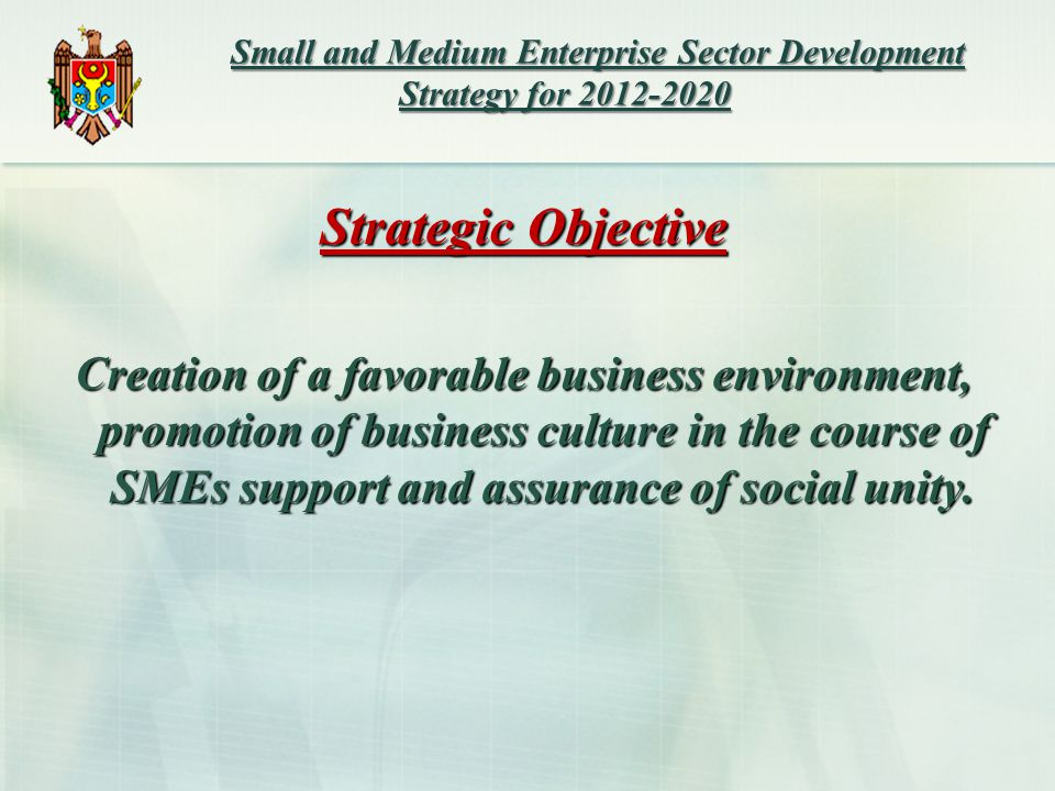 Small and Medium Enterprise Sector Development Strategy for Small and Medium Enterprise Sector Development Strategy for Strategic Objective Creation of a favorable business environment, promotion of business culture in the course of SMEs support and assurance of social unity.
