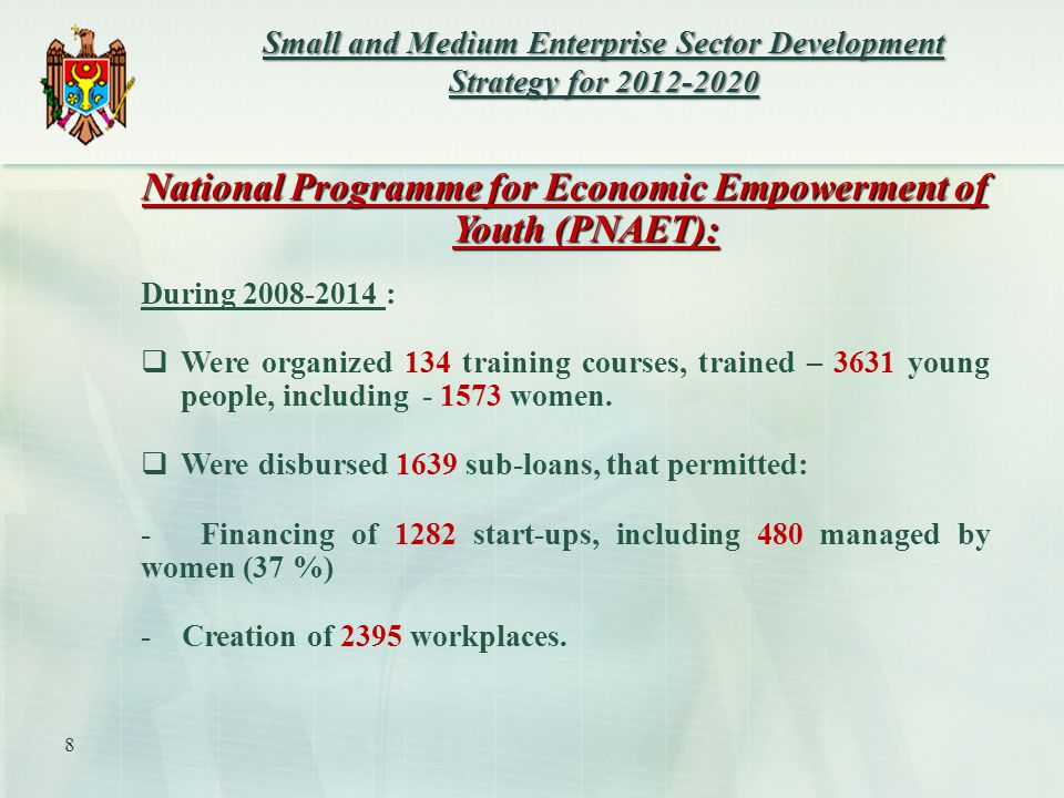 National Programme for Economic Empowerment of Youth (PNAET): During :  Were organized 134 training courses, trained – 3631 young people, including women.