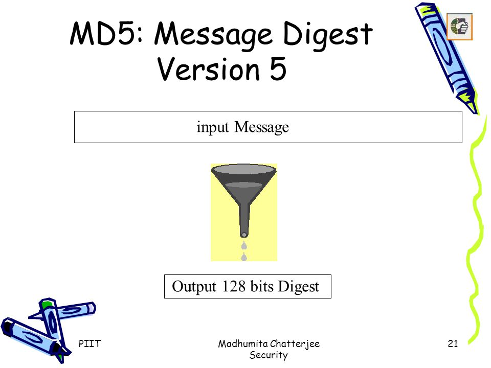 PIITMadhumita Chatterjee Security 21 MD5: Message Digest Version 5 input Message Output 128 bits Digest
