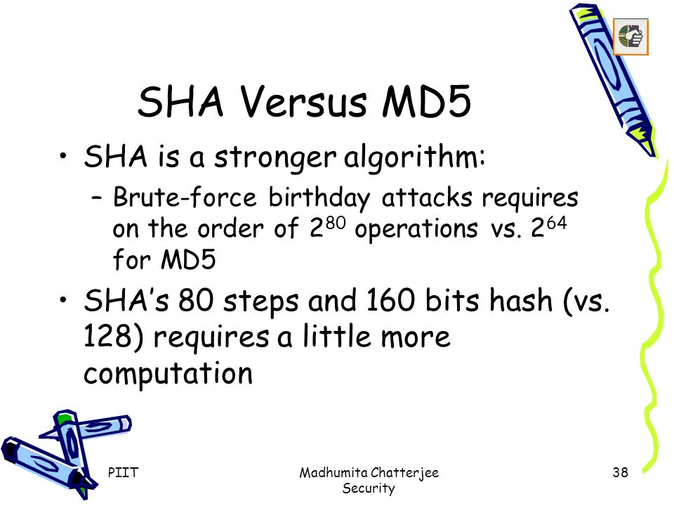 PIITMadhumita Chatterjee Security 38 SHA Versus MD5 SHA is a stronger algorithm: –Brute-force birthday attacks requires on the order of 2 80 operations vs.