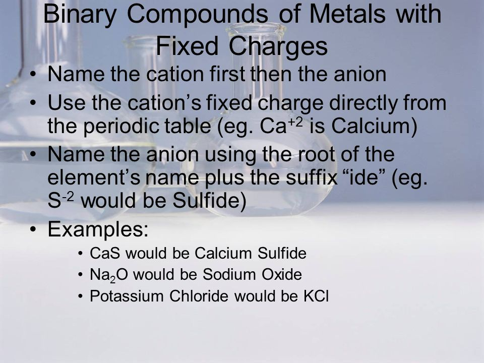 binary compounds of metals with fixed charges name the cation first then the anion use the - Periodic Table Fixed Charges