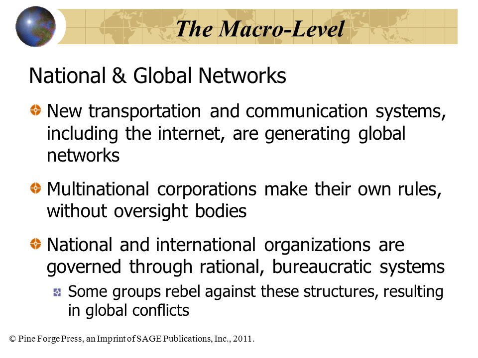 © Pine Forge Press, an Imprint of SAGE Publications, Inc., 2011. National & Global Networks New transportation and communication systems, including th