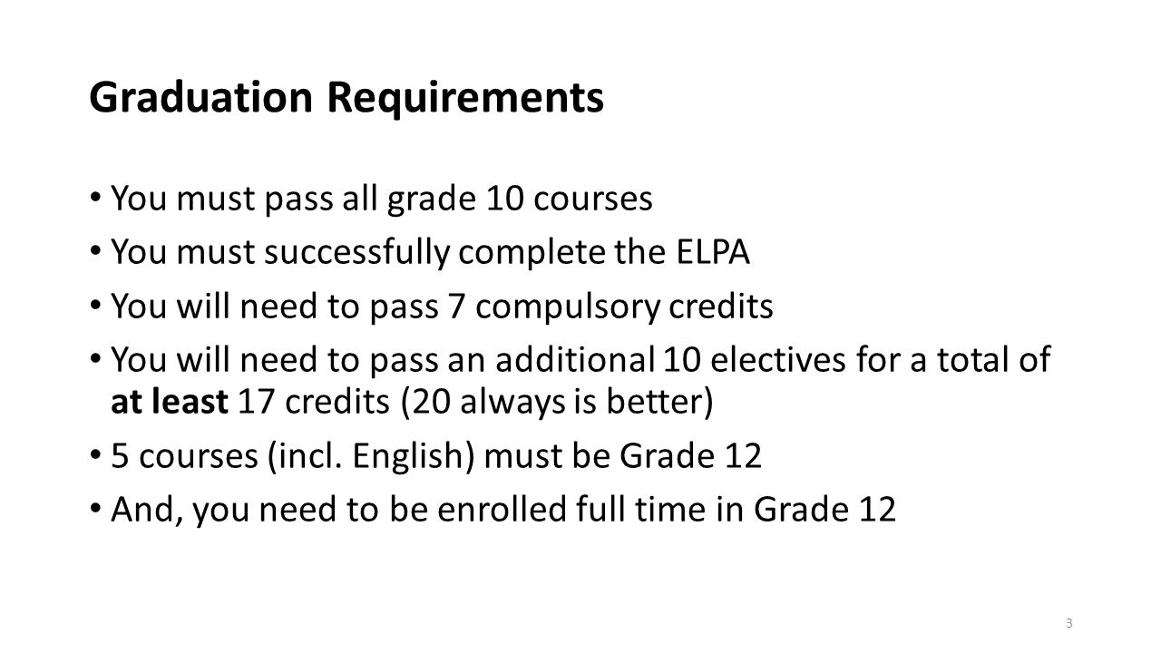 Graduation Requirements You must pass all grade 10 courses You must successfully complete the ELPA You will need to pass 7 compulsory credits You will need to pass an additional 10 electives for a total of at least 17 credits (20 always is better) 5 courses (incl.
