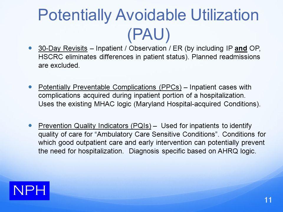 Potentially Avoidable Utilization (PAU) 30-Day Revisits – Inpatient / Observation / ER (by including IP and OP, HSCRC eliminates differences in patient status).
