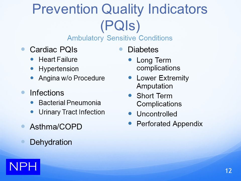 Prevention Quality Indicators (PQIs) Ambulatory Sensitive Conditions Cardiac PQIs Heart Failure Hypertension Angina w/o Procedure Infections Bacterial Pneumonia Urinary Tract Infection Asthma/COPD Dehydration Diabetes Long Term complications Lower Extremity Amputation Short Term Complications Uncontrolled Perforated Appendix NPH 12