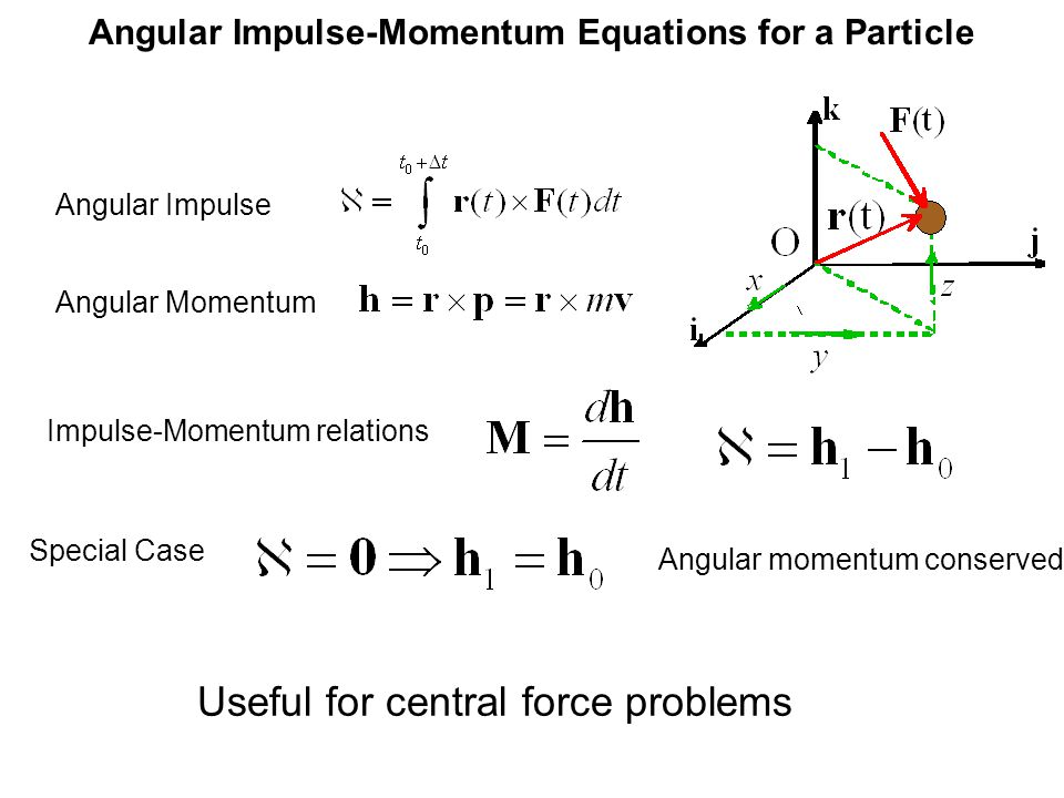 Angular Impulse-Momentum Equations for a Particle Impulse-Momentum relations Useful for central force problems Angular Momentum Angular Impulse Special Case Angular momentum conserved