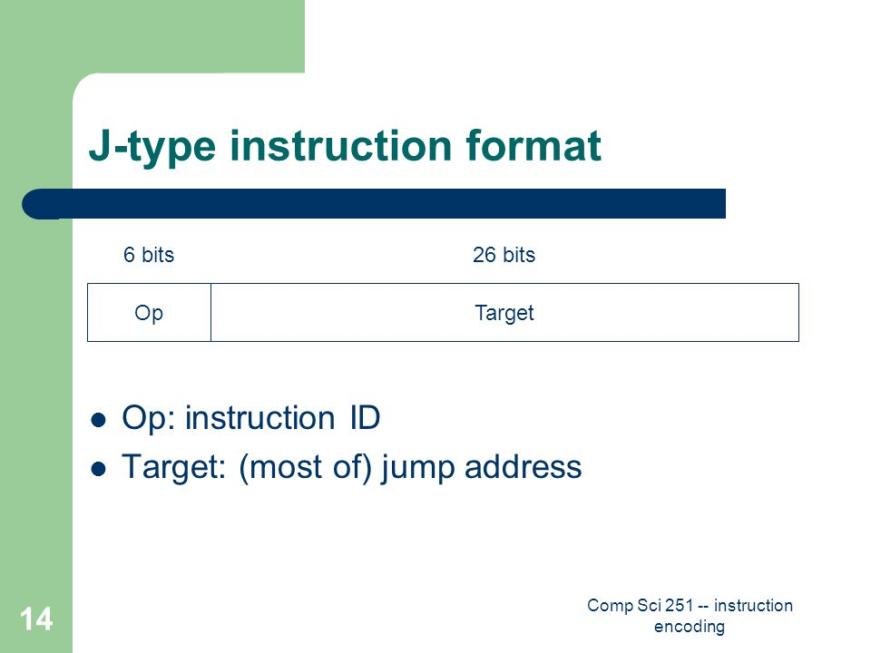 Comp Sci 251 -- instruction encoding 14 J-type instruction format Op: instruction ID Target: (most of) jump address 6 bits26 bits OpTarget