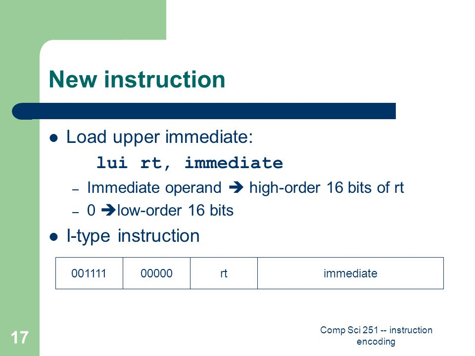Comp Sci 251 -- instruction encoding 17 New instruction Load upper immediate: lui rt, immediate – Immediate operand  high-order 16 bits of rt – 0  low-order 16 bits I-type instruction 00111100000rtimmediate