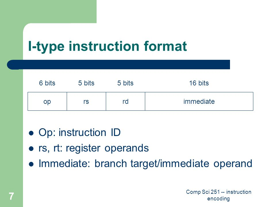 Comp Sci 251 -- instruction encoding 7 I-type instruction format Op: instruction ID rs, rt: register operands Immediate: branch target/immediate operand oprsrdimmediate 6 bits5 bits 16 bits
