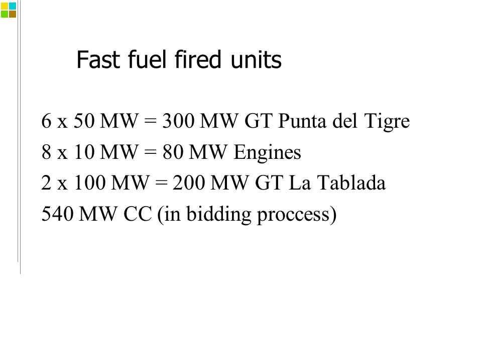 Fast fuel fired units 6 x 50 MW = 300 MW GT Punta del Tigre 8 x 10 MW = 80 MW Engines 2 x 100 MW = 200 MW GT La Tablada 540 MW CC (in bidding proccess)