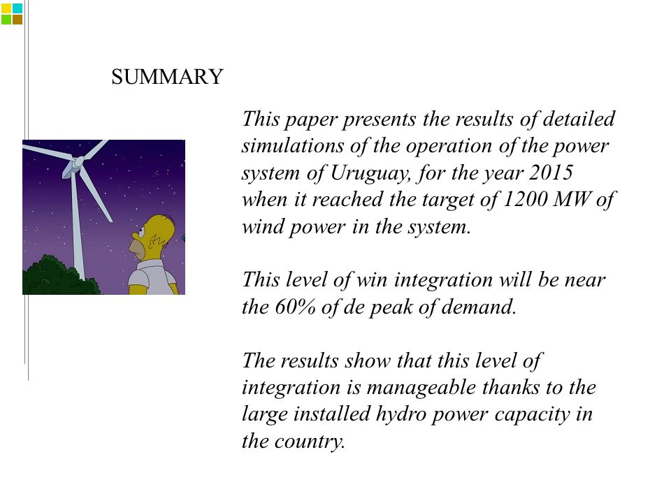 SUMMARY This paper presents the results of detailed simulations of the operation of the power system of Uruguay, for the year 2015 when it reached the target of 1200 MW of wind power in the system.