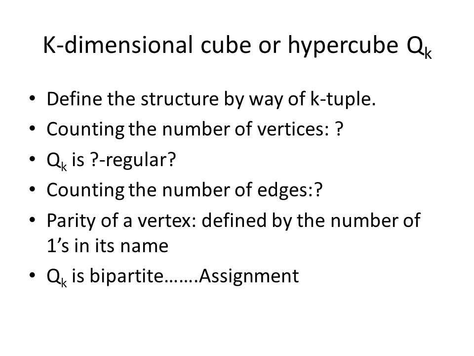 K-dimensional cube or hypercube Q k Define the structure by way of k-tuple.