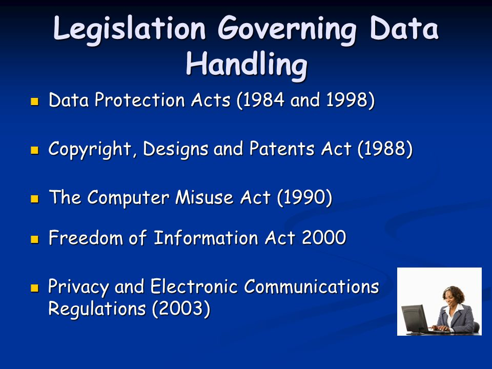 Legislation Governing Data Handling Data Protection Acts (1984 and 1998) Data Protection Acts (1984 and 1998) Copyright, Designs and Patents Act (1988) Copyright, Designs and Patents Act (1988) The Computer Misuse Act (1990) The Computer Misuse Act (1990) Freedom of Information Act 2000 Freedom of Information Act 2000 Privacy and Electronic Communications Regulations (2003) Privacy and Electronic Communications Regulations (2003)
