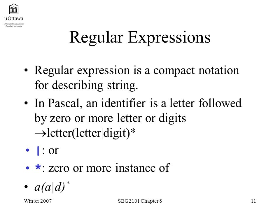 Winter 2007SEG2101 Chapter 811 Regular Expressions Regular expression is a compact notation for describing string.