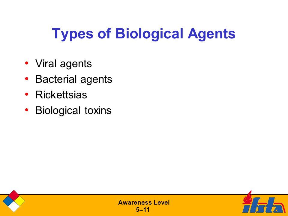 Awareness Level 5–11 Types of Biological Agents Viral agents Bacterial agents Rickettsias Biological toxins