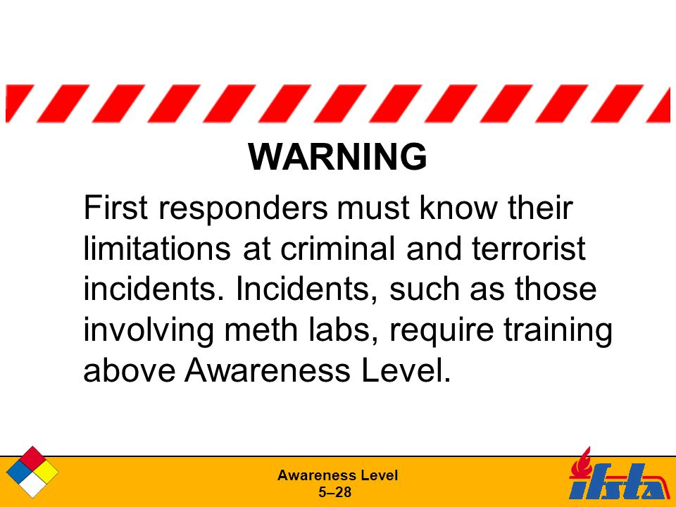 Awareness Level 5–28 WARNING First responders must know their limitations at criminal and terrorist incidents.