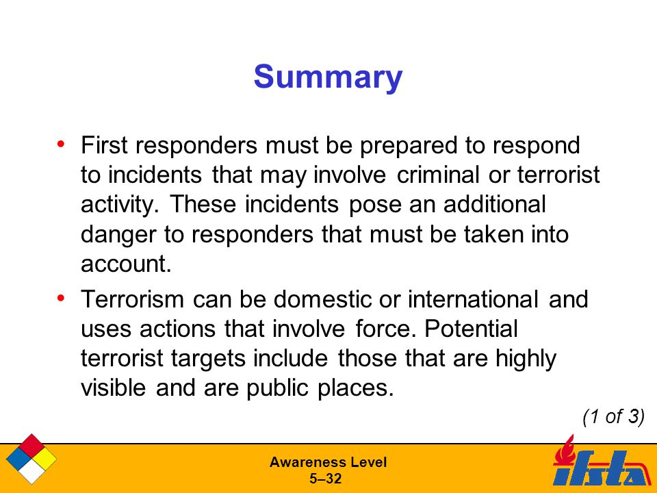 Awareness Level 5–32 Summary First responders must be prepared to respond to incidents that may involve criminal or terrorist activity.