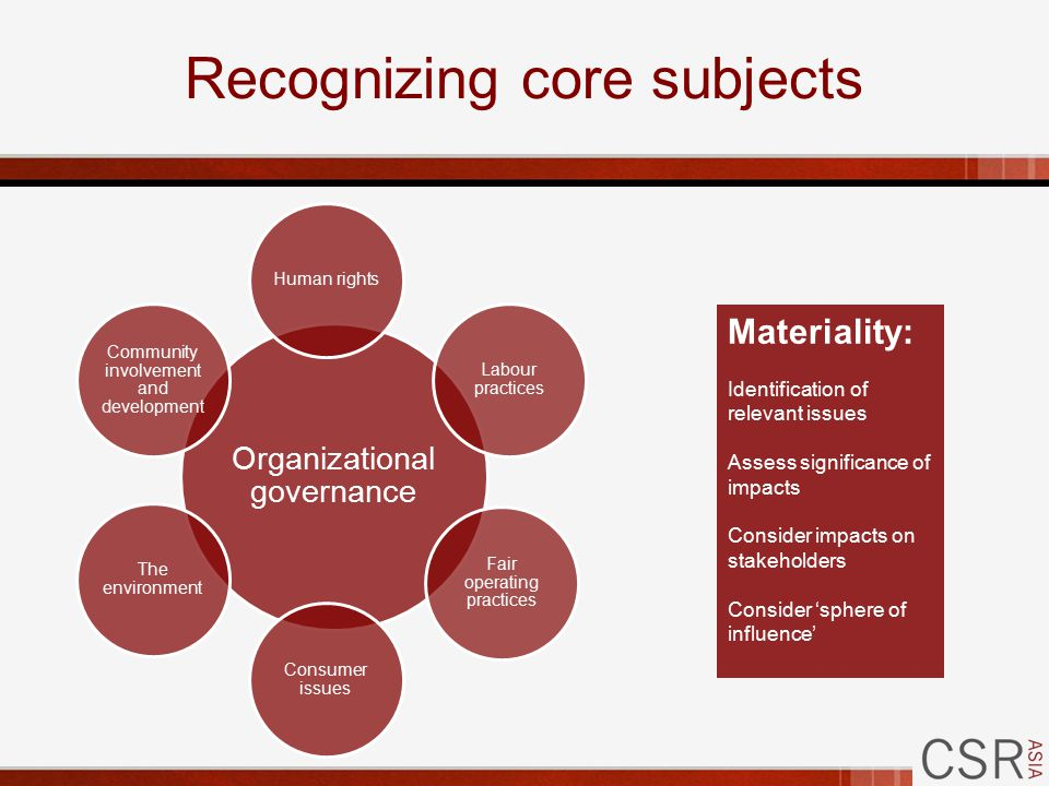 Recognizing core subjects Organizational governance Human rights Labour practices Fair operating practices Consumer issues The environment Community involvement and development Materiality: Identification of relevant issues Assess significance of impacts Consider impacts on stakeholders Consider 'sphere of influence'