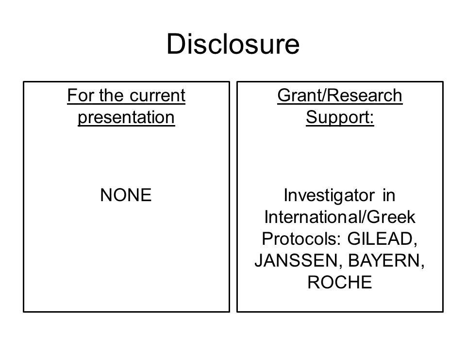 Disclosure For the current presentation NONE Grant/Research Support: Investigator in International/Greek Protocols: GILEAD, JANSSEN, BAYERN, ROCHE