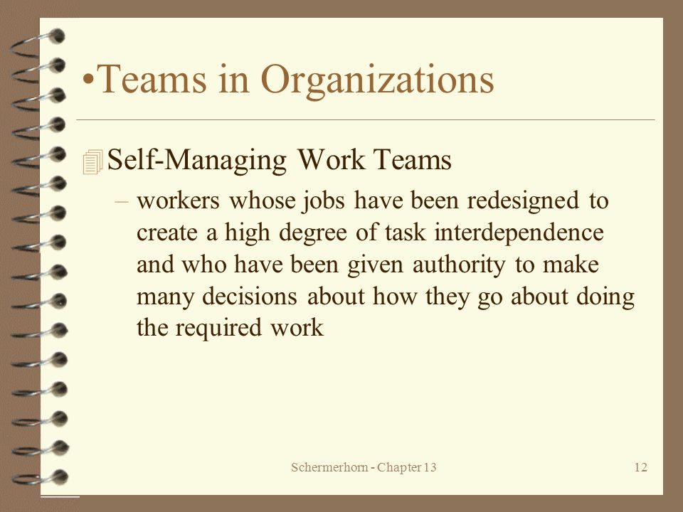 Schermerhorn - Chapter 1312 Teams in Organizations 4 Self-Managing Work Teams –workers whose jobs have been redesigned to create a high degree of task