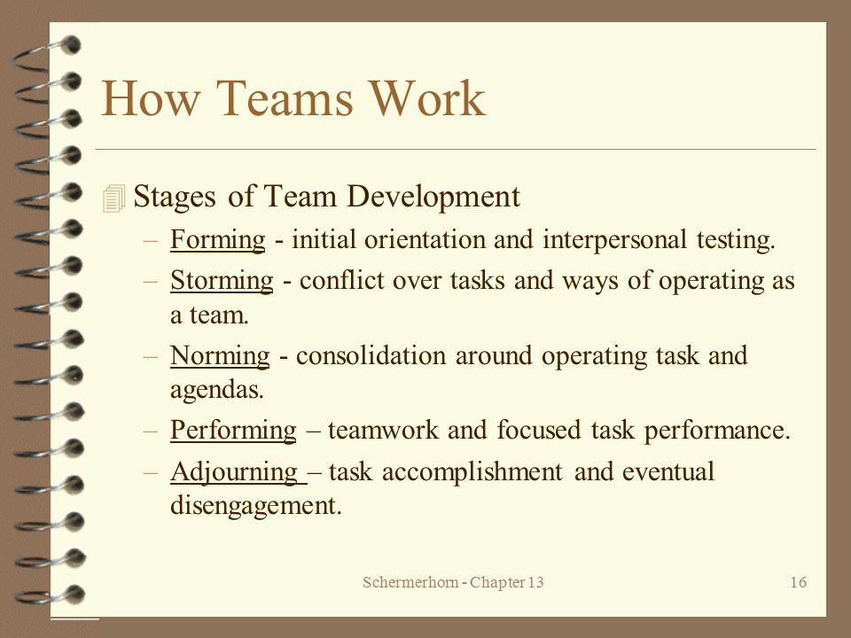 Schermerhorn - Chapter 1316 How Teams Work 4 Stages of Team Development –Forming - initial orientation and interpersonal testing. –Storming - conflict