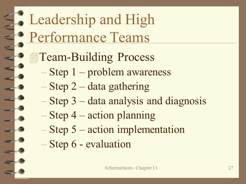 Schermerhorn - Chapter 1327 Leadership and High Performance Teams 4 Team-Building Process –Step 1 – problem awareness –Step 2 – data gathering –Step 3