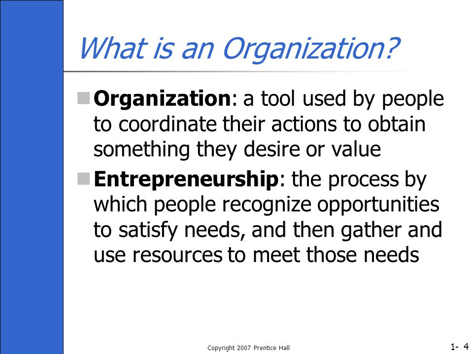 1- Copyright 2007 Prentice Hall 4 What is an Organization? Organization: a tool used by people to coordinate their actions to obtain something they de