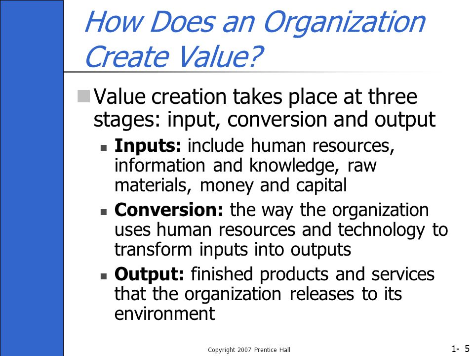 1- Copyright 2007 Prentice Hall 5 How Does an Organization Create Value? Value creation takes place at three stages: input, conversion and output Inpu