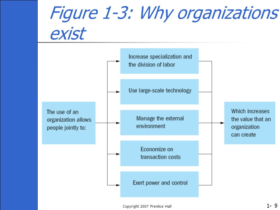1- Copyright 2007 Prentice Hall 9 Figure 1-3: Why organizations exist