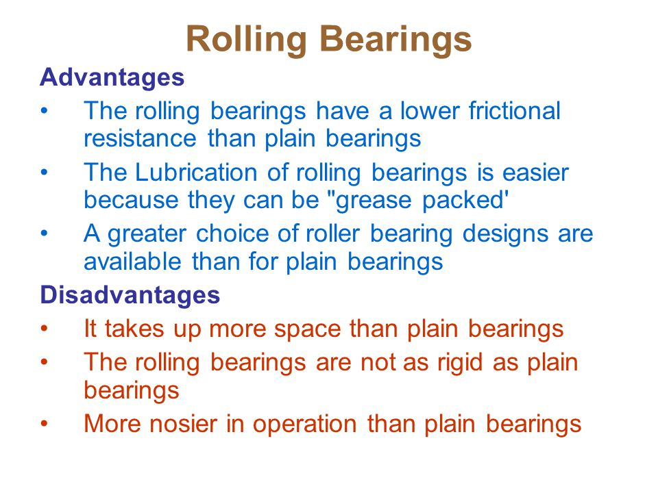 Rolling Bearings Advantages The rolling bearings have a lower frictional resistance than plain bearings The Lubrication of rolling bearings is easier because they can be grease packed A greater choice of roller bearing designs are available than for plain bearings Disadvantages It takes up more space than plain bearings The rolling bearings are not as rigid as plain bearings More nosier in operation than plain bearings